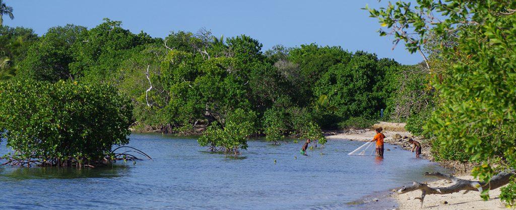 Une maman et ses enfants entrain de pêcher dans la mangrove, Nouvelle Calédonie
